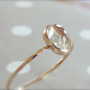 Engagement Ring, White Topaz Ring, Yellow Gold Ring, Rose Gold Ring, Gemstone Ring, 14k Gold Ring, Mothers day Ring, Oval Ring