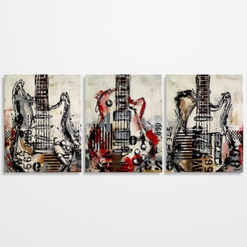 Guitar painting, Music Art, Gift for Musician, Les Paul, Guitar Art Original Large Red Brown Gray Painting on canvas by Magier -  triptych
