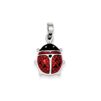 Sterling Silver and Enameled 3D Red Ladybug Pendant, 15mm (9/16 inch)