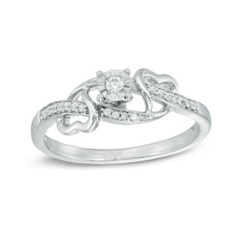 1/10 CT. T.W. Diamond Bypass with Hearts Promise Ring in Sterling Silver
