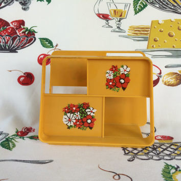 1960s Harvest Gold Napkin Holder with Retro Red Flowers Plastic Vintage Kitchen Retro Camper