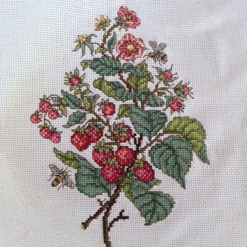 Completed cross stitch berry wall art - Personalized nursery embroidery decor - Handmade wall hanging