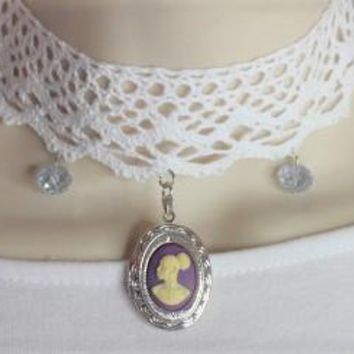 Vintage Purple Lace Cameo Choker Locket Necklace /Free Shipping