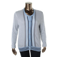 Tommy Hilfiger Womens Modal Blend Striped Cardigan Sweater