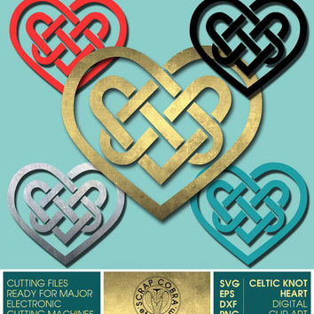 Valentine's Celtic Heart Vector Clip Art - SVG, eps, DXF, PNG digital downloads for vinyl decals, cards, transfers, cutting machines cv-133