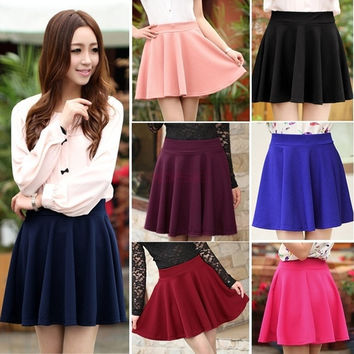 Women Candy Color Stretch Waist Plain Skater Flared Pleated Mini Skirt 15411 One Size = 1745495044