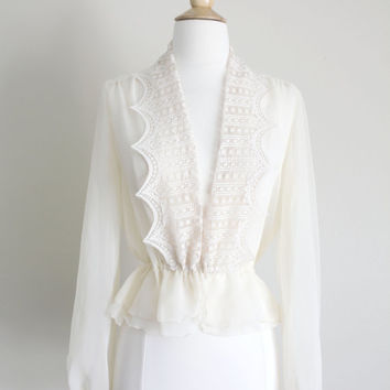 1970s Sheer Ivory Lace Open Front Peplum Blouse // Small