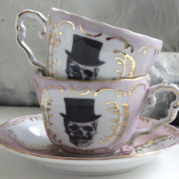 Blue or Pink & Gold Tophat Mustache Groom OR Bride Skull Tea Items, Wedding Cup, Tea Set, Goth High Tea, Steampunk Wedding Tea