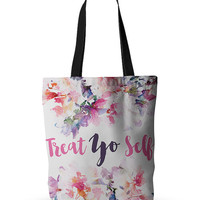 Treat Yo Self Hip Hop Quote Floral Funny Parks and Recreaction Wedding Bride Future Mrs Wife Fashion Gift Tote Bag 18x18