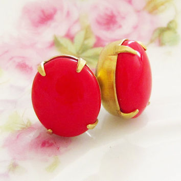 Chunky Cherry Red Post Earrings - Vintage Glass Jewel Surgical Steel Post Earrings - Wedding, Bridal, Bridesmaid, Preppy, Valentine