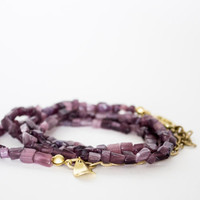 Purple Cat Eyes Beaded Wrap Bracelet or Necklace
