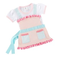 Baby Aspen Mock-Layer Apron Bodysuit - Baby Girl, Size: One Size (Pink)