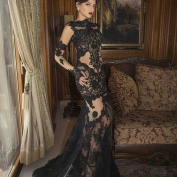 Saudi Arabic Designer Evening Dresses Sexy Black Lace Beaded Bateau Long Sleeves Mermaid Formal Gowns Christmas Eve Wear Vestido