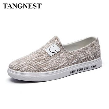 Tangnest NEW Design Men Canvas Shoes Fashion Hemp Shallow  Vulcanize Shoes For Male Casual Slip-on Flats Man Footwear