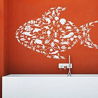 Fish Wall Decal Sea Decorated Animals Ocean Nautical Marine Home Decor Vinyl Sticker Decals Bathroom Nursery Bedroom Decor NV148 (17x27)