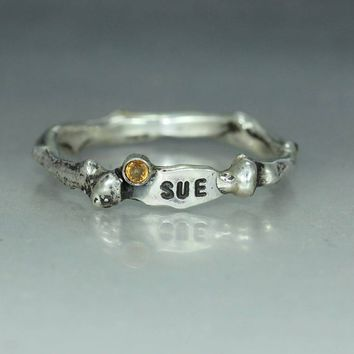 An Organic Name Initial Sapphire Woman's Jewelry Handmade  Recycled Silver Ring