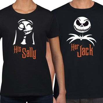 Jack and Sally Her Jack His Sally his and hers Matching Couples Shirt Set