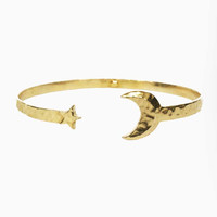 Moon and Star Cuff - Brass