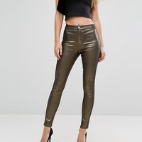 Lipsy Gold Coated Glitter Jean at asos.com