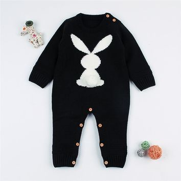 Newborn Baby Girls Knitted Romper Cute Rabbit Infantil Boys Jumpsuit Long Sleeve Toddler Sweater Winter Kid Clothing Overalls