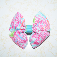 Lilly Pulitzer inspired print turquoise pink orange girls hair bow