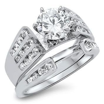 1.6CT Round Cut Russian Lab Diamond Bridal Set Wedding Band Ring