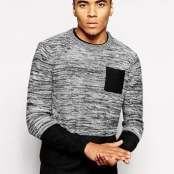 Bellfield | Bellfield Spacedye Color Block Sweater at ASOS