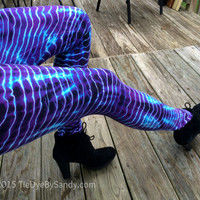 Tie-dye leggings- Electric Blue Violet Stripes