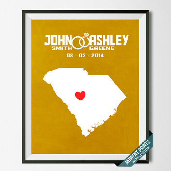 Personalized, Print, South Carolina, Wedding, Anniversary, Customized, Couple, Gift, Map, Custom, Wall Art, Home Decor, Marriage [NO 39]