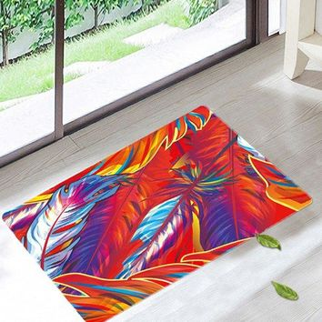 Art Feather Non Slip Bathroom Floor Rug