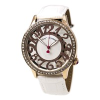 Betsey Johnson BJ00331-03 Women's Crystal Bezel White MOP Dial White Leather Strap Watch