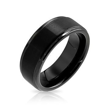 Dome Black Matte Couples Wedding Band Tungsten Rings Beveled Edge 8MM