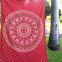 RED MANDALA ELEPHANT Fabric Tapestry Cotton Boho Hippie Bedding Bedspread Throw Wall Hanging Bohemian Home Decor