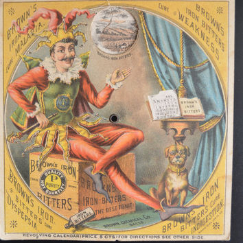 Brown's Iron Bitters Mechanical Wheel Trade Card 1880s Advertising Jester Card Very Rare