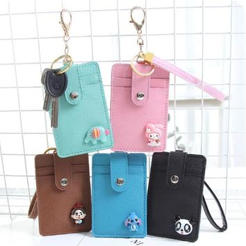 Hello KItty Leather Card ID Holders Key ring Key Wallet