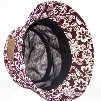 Genuine By Anthony Burgandy Hawaiian Floral Bucket Hat