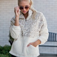 Just Crazy About You Fleece Pullover : Leopard/Cream