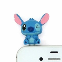 Euclid+ - Blue Stitck and Lilo Disney 3D Style 3.5mm Headphone Anti-Dust Plug Cap for Apple Samsung HTC LG Sony 3.5mm with Euclid+ Cable Tie