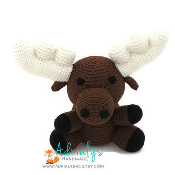 Crochet Moose, Moose Stuffed Animal, Moose Plush, Moose Amigurumi, Woodland Stuffed Animals, Crochet Toy - Ready to Ship