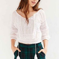 Ecote Banded-Bottom Gauzy Top