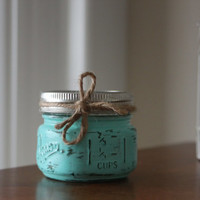Distressed Mason Jar, Turquise Candle, Shabby Chic Candle, Wedding Centerpiece, Rustic Kitchen Decor, Scented Candles, Gifts