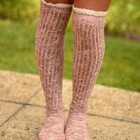 Lace Over The Knee Socks- Dusty Rose