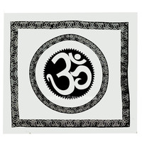 Big White  Black Celestial OM Wall Tapestry, Aum Cotton Fringed Tapestry Bedding on RoyalFurnish.com
