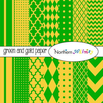 Green and Gold Digital Paper Pack – 12x12 scrapbook papers in stripe, chevron, polka dot, harlequin, & quatrefoil – instant download – CU OK