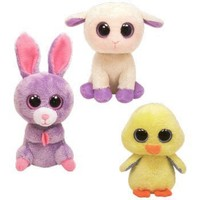 Ty Basket Beanie Babies - Easter 2012 Complete Set of 3 (Goldie, Lily & Petunia)