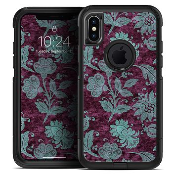 Burgundy and Turquoise Floral Velvet - Skin Kit for the iPhone OtterBox Cases