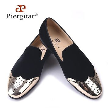 Piergitar new Black velvet shoes with gold Bullock buckle Fashion loafers