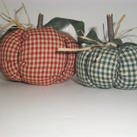 THANKSGIVING FABRIC PUMPKINS, Handmade, Primitive, Rustic, Red and Green, Ooak, Country Decor, Cottage Chic, Earthtones