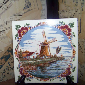 Vintage Windmill Scene Ceramic Wall Tile--Decorative Wall Art--Holland--Dutch---Kitchen Tile--Trivet--Kitchen Decor--Coaster