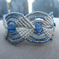 Kyanite Hemp Macrame Bracelet with Glass Beads - Hippie Bohemian Natural